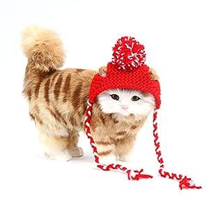 SWEET DEVIL Nouveauté Chapeau Adorable pour Chat Chaton Chiot Fait Main en Laine Chaud Hiver Costume de Fête Déguisement d'Animaux