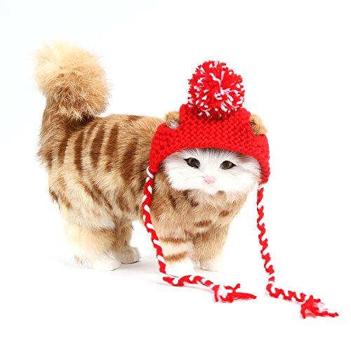 ze Weihnachten Hut Weihnachten Kostüm Wollmütze für Katze Welpe Haustier Cosplay Kostüm,Roter Ball (Crazy Cat Lady Halloween-kostüm)