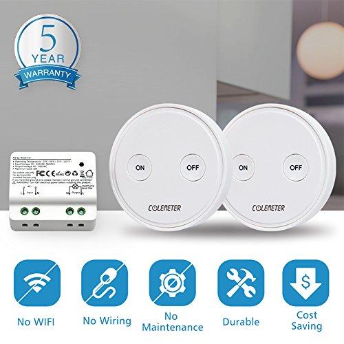 colemeter ensemble 2 interrupteurs sans fil radiocommand interrupteur mural led conomique. Black Bedroom Furniture Sets. Home Design Ideas