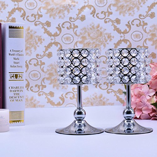 Beautytime24senza bisogno di montaggio argento cristallo elegante portacandele tavolino decorativo centrotavola candelabro, set per tavolo da pranzo di nozze decorazioni 20cm h x 2