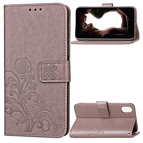 """MOONCASE iPhone X Coque, [Embossed Pattern] Support Flip Cuir Housse Anti-choc TPU Protection Etui Cases pour iPhone X 5.8"""" Gris Gris"""