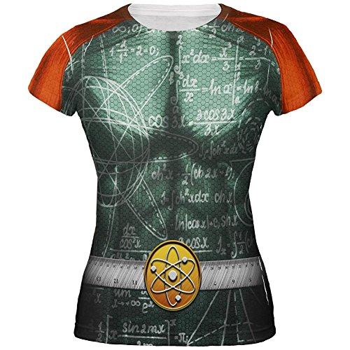 Halloween Math Geek Wissenschaftler Superhero Kostüm Alle über Junioren T-Shirt Multi ()