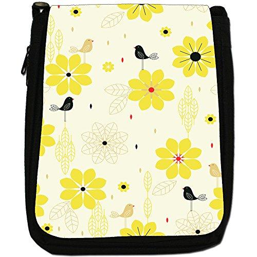 Stile moderno con fiori e uccelli, colore: nero, Borsa a spalla in tela da uomo, taglia media Yellow