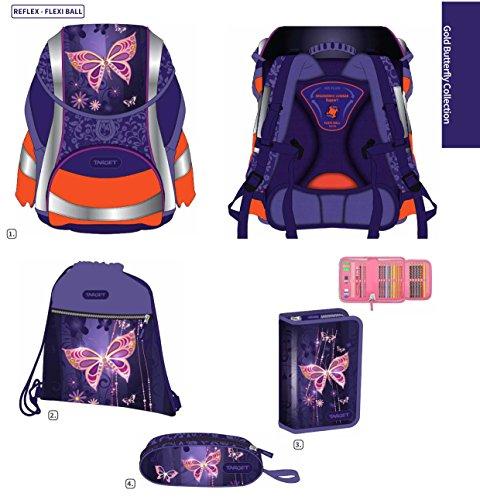 Exclusiv*6tlg.Schmetterling DIN58124 Schulranzen Set ERGONOMISCHER Schulrucksack (Ausgezeichnet mit Red Dot Design Award 2016 für Eine kindgerechte Gestaltung,Ergonomie und Sicherheit)