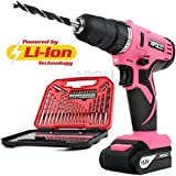 Apollo Pink 10.8V Cordless Drill Driver with 1500 mAh Lithium-Ion Battery, 19 Position Keyless Chuck, Variable Speed Switch & 30 Piece Drill and Screwdriver Bit Accessory Set in Compact Storage Case