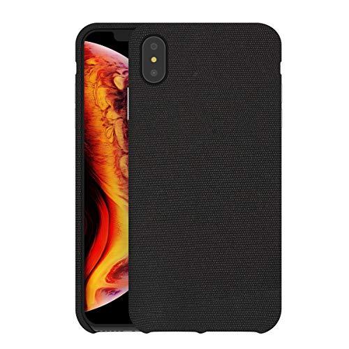 bb face Für iPhone XS Max Hülle Stoff Rückseite Kunststoff-Schutzhülle unterstützt drahtlose Aufladung für iPhone XS Max(2018) 6,5 Zoll - Schwarz