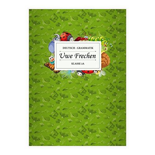 Preisvergleich Produktbild 4 personalisierte, Fröhliche Insekten Grundschüler DIN A4 Schulhefte, Rechenhefte mit Marienkäfer, Raupen und co in grün Lineatur 23 (kariertes/rautiertes Heft)