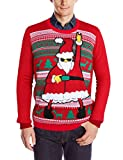 Uideazone Herren's Weihnachts Santa Claus Print Sweater Jumper Top Ugly Pullover Rot Small