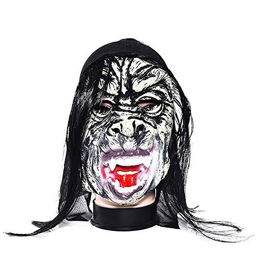 Lumanuby 1x Horror Teufel mit Scharfer Zahn Latex Maske Unisex für Halloween Maskerade Parteien, Kostüm Partys Karneval Oder Ostern Schwarz Farbe