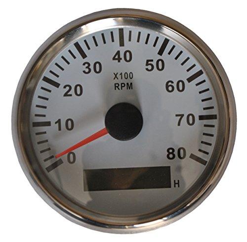 Weiß Motor Bike Auto Boot Motorrad einstellbar Universal Motor Tachometer Drehzahlmesser RPM Meter mit LED Hintergrund