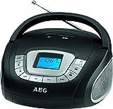 AEG SR 4373 Stereoradio, Uhr mit Alarmfunktion, Multifunktionsdisplay, USB-Port, Card-Slot, AUX-IN, Kopfhöreranschluss schwarz