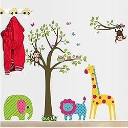 Likeai Waldtiere AFFE Giraffe Elefantenbaum Zweig Wandaufkleber Für Kinderzimmer Wandtattoo Aufkleber Kinderzimmer Dekor