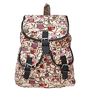 BRANDX Imported Owl Passion light weight Canvas Backpack Cute Travel School College Shoulder Bag/Bookbags for Teenage Girls/Students/Women/ Girls- (US Best Seller) Designer3502C