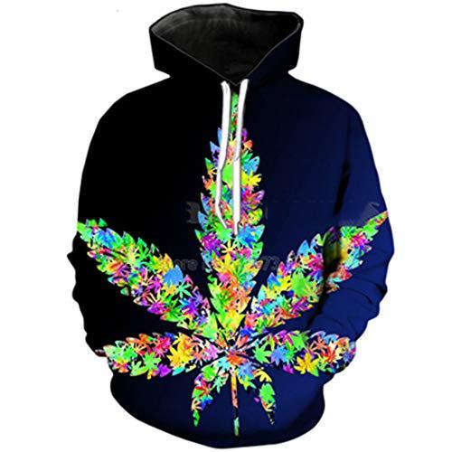 (Herbst Hoodies Bunte Unkraut drucken 3D Kapuzen-Sweatshirt Color as The Picture XXL)