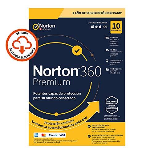 Norton 360 Premium 2020 - Antivirus software para 10 Dispositivos con renovación automática, 1 año, PC/Mac/tablet/smartphone, Código de activación enviado por email