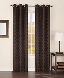 Easy Care Fabrics Thermal Grommet Top Trellis Embroidered Room Darkening Curtains, 40 by 84-Inch, Chocolate, Set of 2