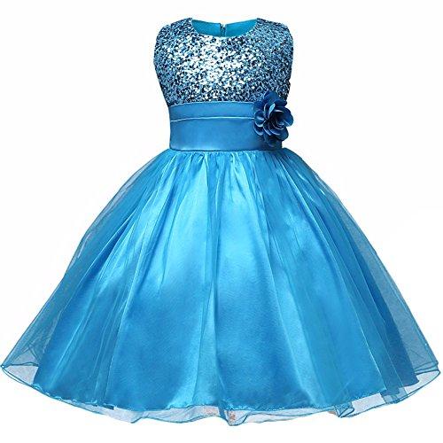 WAWALI Blumenmädchen Sequined Tulle Formal Party Prinzessin Kleider 8 (Up Brust Dress Kostüme Princess)