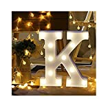 sunnymi Alphabet LED Brief Lichter leuchten weiße Kunststoff Buchstaben Stehen Hängen A bis Z & Wortkombination Home Garten Hotel Geschäft Dekor (K, 22 * 18cm*4.5cm)