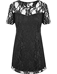 WearAll New Ladies Lace Lined Top Womens Plus Size Stretch Short Sleeve Top Sizes 14-28
