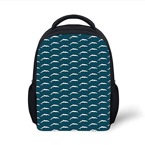 Kids School Backpack Dolphin,Aquatic Animals Marine Life Inspirations Intelligent Ocean Creatures Pattern,Petrol Blue White Plain Bookbag Travel Daypack