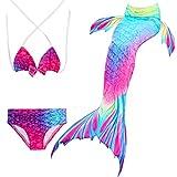 Fancyinn Enfant Filles 3 Pièces Maillot de Bain Princesse Queue de Sirène Mermaid Bikini(Vous Pouvez Ouvrir la Queue de sirène, Marcher ou Ajouter Monopalme) Arc en Ciel Bleu 120