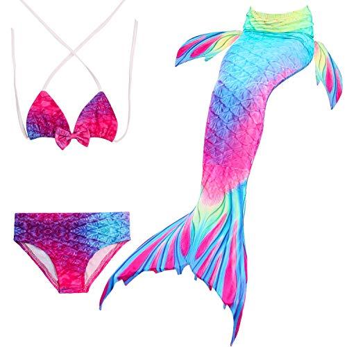 FANCYINN Meerjungfrauenflosse für Kinder Schwimmen mit Meerjungfrau Flossen Badebekleidung Meerjungfrau Shell Badeanzug 3pcs Bikini Sets