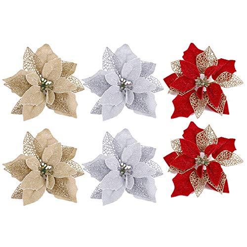 Dekorationen,künstliche Blumen für die Dekoration,Winthai 6 STÜCKE Realistische Künstliche Blumen Dekoration Ornamente für Haus Mall Party Weihnachtsbaum Kränze Rattan Mischfarbe ()