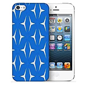 Snoogg White In Blue Pattern Printed Protective Phone Back Case Cover For Apple Iphone 5 / 5S