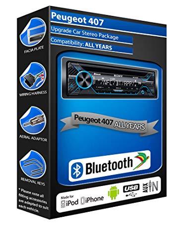 In Car Emporium Reproductor de CD para Peugeot 407, Sony MEX-N4200BT estéreo...