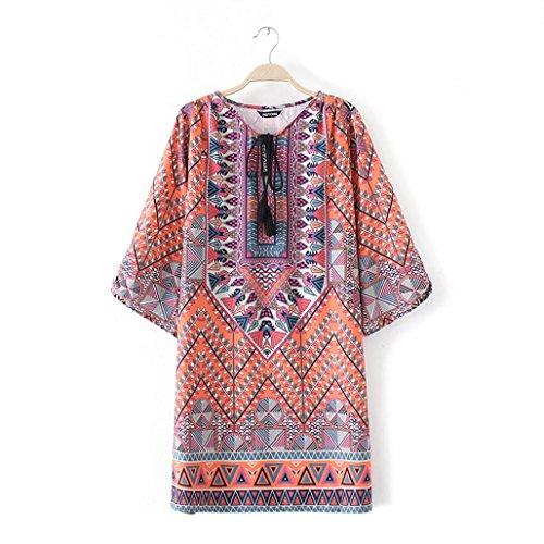 robe femme, Transer ® Fashion femmes motif géométrique Vintage imprimé lâche robe d'été Orange