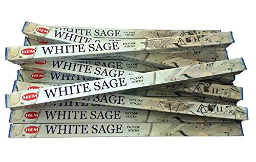 10 X 14 Sage (HEM Saum Weiß Räucherstäbchen Salbei X 14Boxen-10g Pro Pack-8Sticks Pro Box)