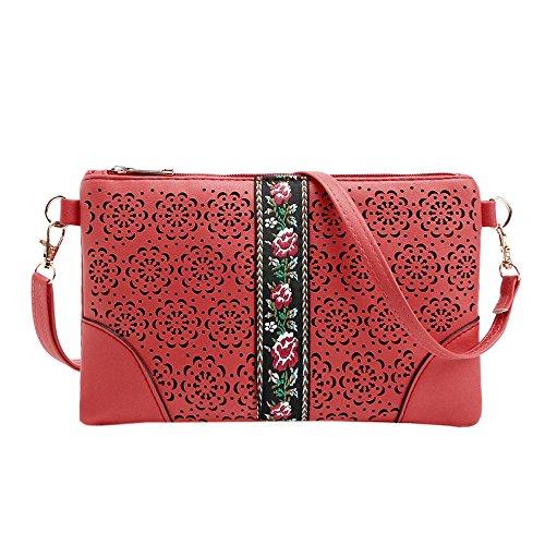 Longra Donna Sacchetto di spalla casuale del sacchetto della busta ricamata Rosso