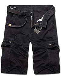 Ghope Short Cargo Style Bermuda Pantacourt pour Homme Sport Shorts Avec Multi Poches Décontractée (SANS CEINTURE)