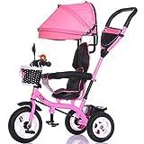 Luxus 4-in-1 Kind Dreirad Fahrrad Boy's Bike Mädchen Fahrrad für 6 Monate-6 Jahre alt Baby drei Räder Trolley mit Markise und Eltern Griff | Dämpfung | Vollgummireifen (Farbe : Pink)