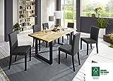 SAM® 7tlg. Tischgruppe, 1 x Esszimmertisch und 6 x Polsterstühle, Tisch aus FSC® 100% zertifiziertem Eichenholz, Esszimmerstühle mit Samolux®-Bezug, 180 x 90 cm [521517]