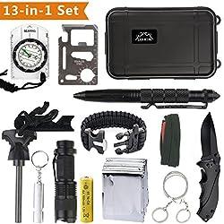 Kit de Supervivencia Profesional Exterior SOS Kit Autoayuda Camping Deportes Excursionismo Supervivencia de Emergencia Cuadro de Supervivencia de Engranajes ,12 en 1 supervivencia Tool