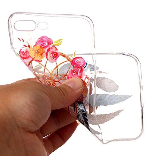 iPhone 7 Plus 8 Plus Custodia, SportFun Slim Flexible TPU Custodia Protettiva in silicone per iPhone 8 Plus 7 Plus Case gufo Crisantemo cavallo (Hirsch) Blatt Blumen