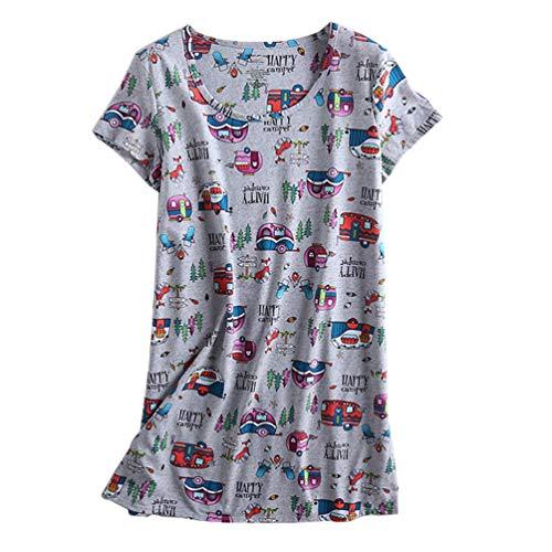 ENJOYNIGHT Damen kurzärmliges Nachthemd Print Schlafkleid süße Nachtwäsche - - Large -