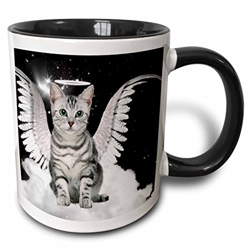 3drose Tasse 62893Türschließer 10,2cm grau gestromt Katze Engel sitzend auf einer Cloud mit einem niedlichen Halo und Engel Flügel