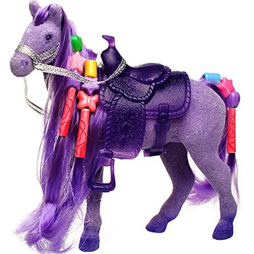 alles-meine.de GmbH kleines Pferd - lila / violett - 14 cm hoch - mit Harren, Perlen zum Flechten + abnehmbaren Sattel - Plastikpferd - klein - ideal auch für Spielzeug Puppen / ..