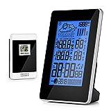 CookJoy Estación meteorológica Hidrómetro Reloj Despertador Digital Barómetro Sensor de Temperatura/Humedad/Calendario/Alarma Estación inalámbrica de pronóstico Pantalla HD - Negro