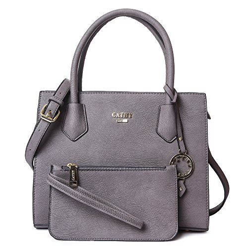 Cathy London Women\'s Handbag with Pouch, Material- Synthethic Leather, Colour- Grey