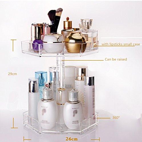 étui cosmétique 360 ° rotatif Boîte de rangement de table Maquillage Bijoux Affichage étagère Cosmétique réglable Boîtier Transparent Acrylique Transparent ( taille : Height 31cm )