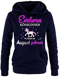 Einhorn Königinnen wurden im August geboren ! Unicorn Damen HOODIE Sweatshirt mit Kapuze Gr.S M L XL XXL schenken Birthday Party Feiern