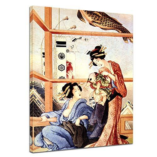 shika Hokusai Das Jungenfest - 90x120cm hochkant - Alte Meister Berühmte Gemälde Leinwandbild Kunstdruck Bild auf Leinwand ()