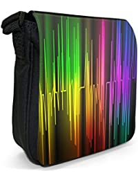 Colourful Heartbeat Chart Rainbow Small Black Canvas Shoulder Bag / Handbag