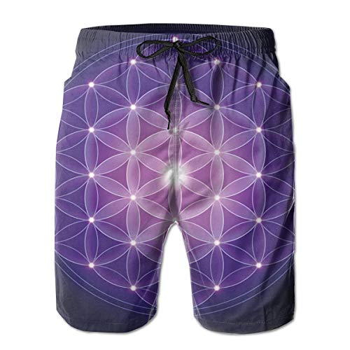 nks Beach Shorts,Flower of Life with Stars Spiritual Symbol Sacred Geometry Ancient Dark Blue Pink Purple,Quick Dry 3D Printed Drawstring Casual Summer Surfing Board Shorts XXL ()
