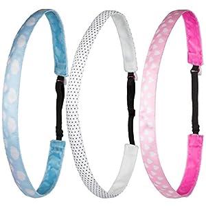 Ivybands® Kids | 3-er Pack | Blau Wolken Weiss Gepunktet Rosa Herzen | Anti-Rutsch Haarband für Kinder | Kinderhaarband IKID005 IKID002 IKID003