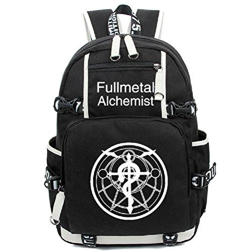 Elric Kostüm Alphonse Cosplay - yoyoshome Fullmetal Alchemist Anime Cosplay Luminous Messenger Bag Rucksack Schule Tasche schwarz Fullmetal Alchemist1