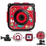DROGRACE Unisex-Youth Subacquea 1080p Digital Video Action Cam per Ragazzi, Bambino di Compleanno Vacanza Giocattoli, 1.77 LCD